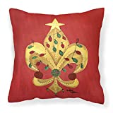 Caroline's Treasures 8185PW1414 Christmas Fleur de lis Tree with lights Pillow, 14'' x 14'', Multicolor