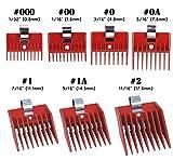 7pcs Speed O Guide Universal Clipper Comb Attachments 7 Diff Size Set (No. 000, No. 00 No. 0, No. 0a, No. 1, No. 1a, No. 2)