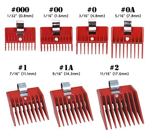 7pcs Speed O Guide Universal Clipper Comb Attachments 7 Diff Size Set (No. 000, No. 00 No. 0, No. 0a, No. 1, No. 1a, No. 2)