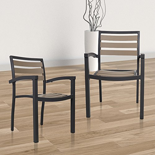 Livebest Brown Metal Stackable Outdoor Chair Set with Back and Arms 2 Pack