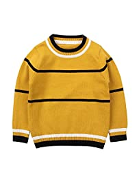 Peecabe Knitted Baby Toddler Boys Sweater Cotton Round Neck Winter Kids Sweaters Long Sleeve Striped Pullover for Girls