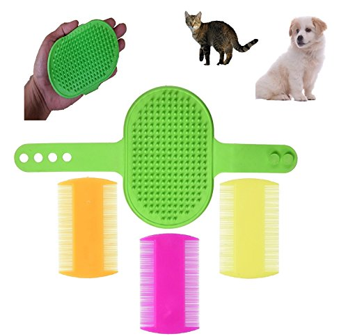 FurBetter & FurBest Pet Grooming Collection - Dematting Deshedding Tool for Loose Undercoat Tangles Mats and Knots - Rake Brush Comb for Dog Fur & Cat Hair (Green Palm Brush + 3 Combs Pack)