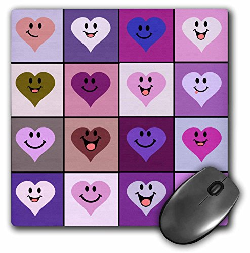 Pink happy heart squares pattern - purple and pinks smiley face hearts- Mouse Pad, 8 by 8 inches (mp_113108_1) (Face Purple Smiley)