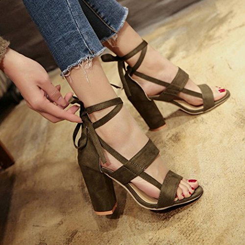 Work Safe Soft Safe Strips Ankle Sandals Women Byste Summer Style Casual Flops Flip Shoes Square High Green Walking Office Girls Loafers Sole Heels Elastic Rome Beach Y1qOAwY