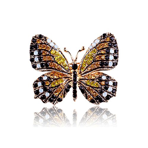 Joji Boutique Golden Monarch Butterfly Crystal Pin