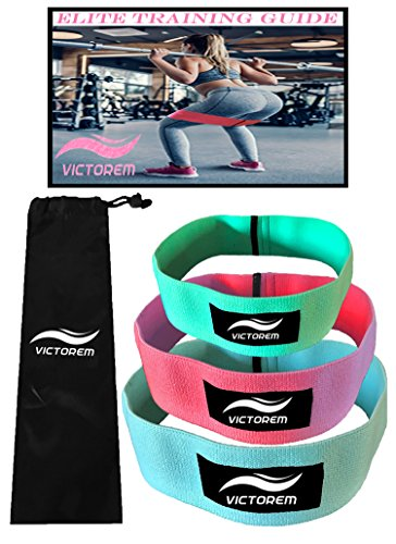 VICTOREM Booty Resistance Workout Hip Exercise Bands – Fitness Loop Circle Exercise Legs & Butt - Activate Glutes & Thighs – Thick, Wide, Cloth Bootie Training & Lifting Women's 80 Day Obsession by VICTOREM