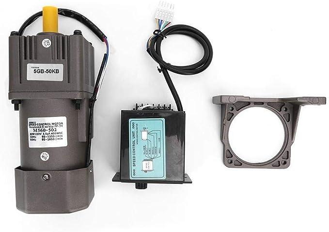 YELLAYBY Fase Paso a Paso Moto Reducción Motor Ajuste Continuo de Velocidad, M560-502 60W 4 Polos Reversible Velocidad del Motor de Engranajes de reducción de Motor 220VAC (50K)