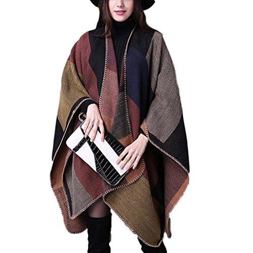 Moda Stola Alla Plaid Mantello Donne Poncho Desshok Inverno Colore01 Tartan Mantello Cashmere Scialle Imitazione Cardigan XxqPYnqwB5