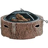 "Martha Stewart MTS-FP35-FB 35"" Diameter Cast Stone Base, Wood Burning Fire Pit, Faux Bois"
