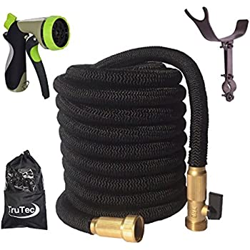 Newest 75 Foot Expandable Garden Hose, Strongest Expanding Hose with Triple Layer Latex Core, 48 Ply Fabric, 8 Pattern Spray Nozzle, Tidy Stainless Steel Holder (Pat. Pend.)