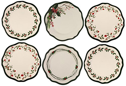 Melange 6-Piece 100% Melamine Dinner Plate Set (Berries Collection ) | Shatter-Proof and Chip-Resistant Melamine Dinner Plates