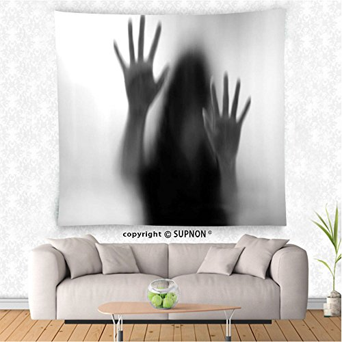 VROSELV custom tapestry Horror House Decor Tapestry Silhouette of Woman behind the Veil Scared to Death Obscured Paranormal Photo Wall Hanging for Bedroom Living Room DormGray by VROSELV
