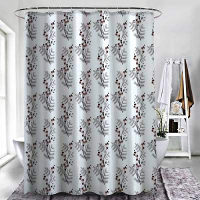 """ZXAWT Brand Waterproof Bathroom Shower Curtains Floral, Curvy Flower Branches Leaves Black and Red Dotted Buds Spring Theme Pattern(48"""" W x 72"""" H)"""