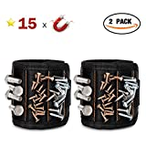 GOOACC G0010A 2 Pcs 15 Magnetic Wristband Holding Screws Nails Drill Bits Gadgets Tools Gift for Men Him Dad DIY Handyman Electrician Husband, 2 Pack