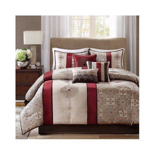 Modern Comforter Striped Blue Red Bedding with Pillows (Queen-red) Scented Candle Tart Included by MP