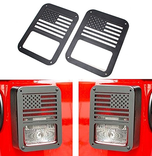 Bolaxin Black Tail lamp Tail light Cover Trim Guards Protector Left and Right For Jeep Wrangler 2007-2016 (US Flag)