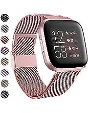 Funbiz Compatibel met Fitbit Versa Bandje/Versa 2 Bandje, Metalen Roestvrijstalen Vervangingsbanden met Uniek Slot voor Fitbit Versa/Versa 2/Versa Lite/Special Editon - Klein, Rose Goud