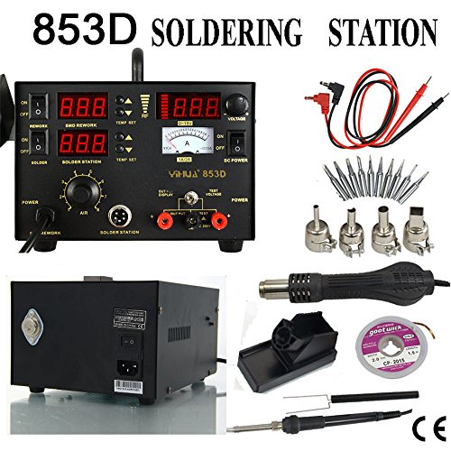 853D 3in1 Soldering Rework Station SMD Iron Hot Air Gun with DC Power - Website Official Ireland