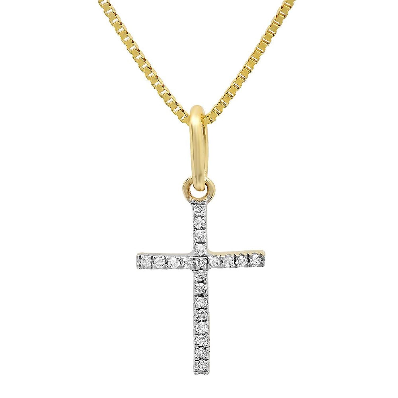 0.03 Carat (ctw) Dainty 14K Yellow Gold Round White Diamond Ladies Micro Pave Religious Cross Pendant