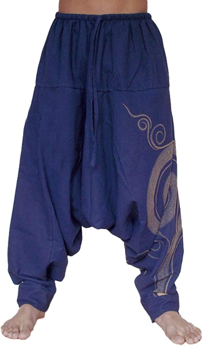 YYear Mens Baggy Yoga Print Summer Elastic Waist Hippie Harem Pants