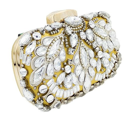 Shoulder Noble Crystal Party Handbag Rhinestone Evening Dress Gold Women Clutch MSFS Wedding ApSqwcUZ