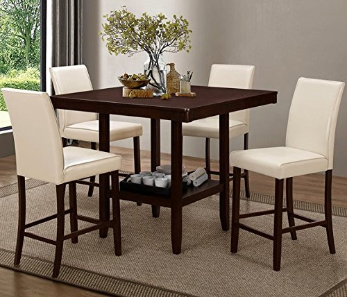 Elegant Espresso Counter Height Dining Table with Four Cream Upholstered Chairs