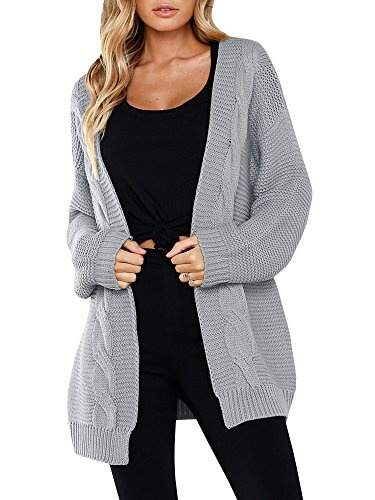 Saikesigirl Womens Oversized Cardigan Chunky Open Front Long Sleeve Cable Knit Sweaters