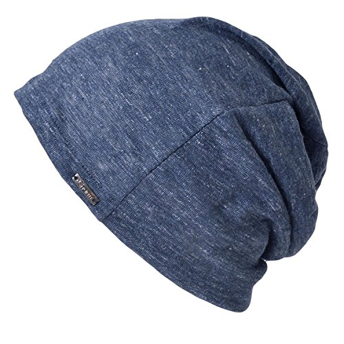 Linen Mens Summer Beanie - Slouchy Lightweight Knit Hat Cap Made in Japan By Casualbox Navy
