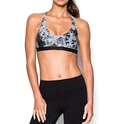 Under Armour Women's Armour Low Printed Bra, Black/Elemental, X-Small