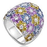 Pasquale Bruni New 18K White Gold Multicoloured Sapphire Ring Size 7.5