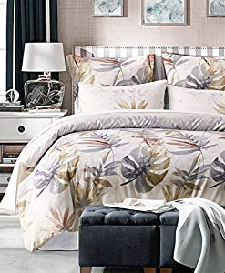 iOCHOW Duvet Cover - Palm Fronds, Made From Microfiber Polyester, 3 Piece Duvet Cover Including 2 Pillow Shams, Double Brushed Queen Duvet Cover, Soft, Comfortable, And Durable