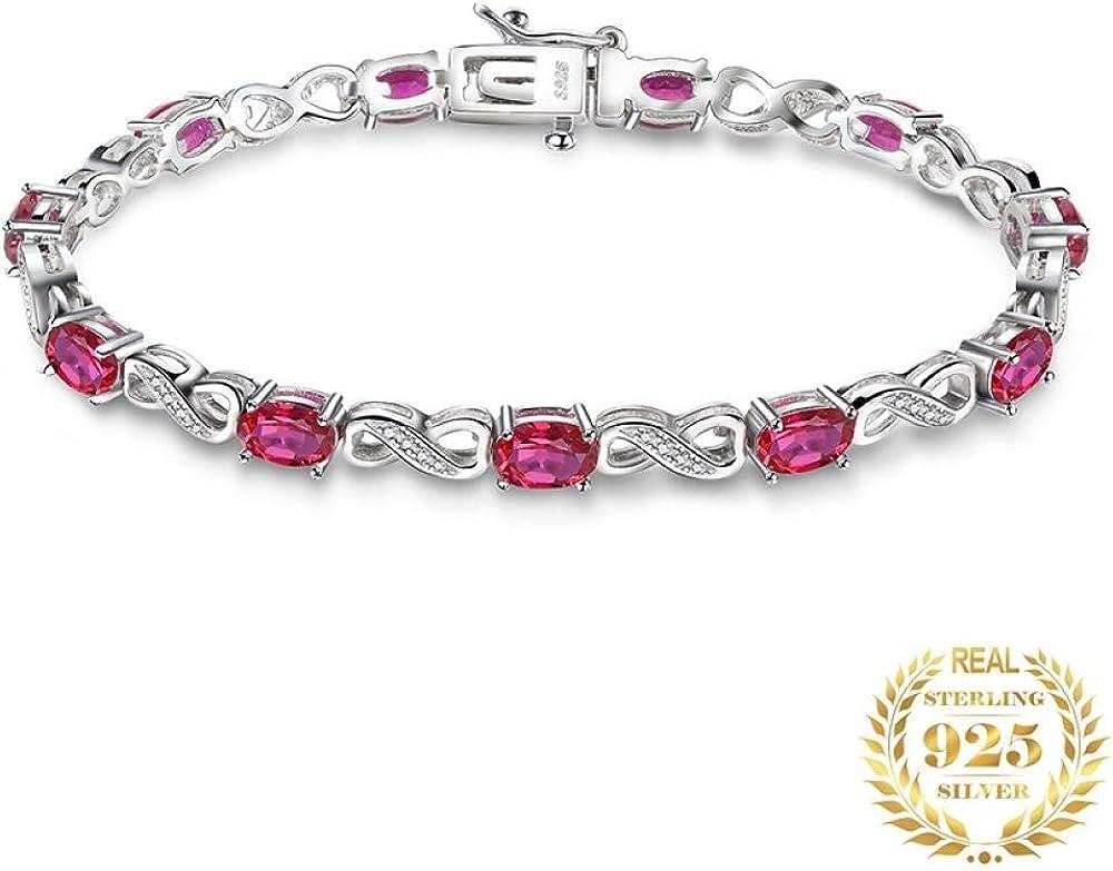 Yeksun Pulsera Ruby 925 Pulsera De Piedras Preciosas De Plata Esterlina para Mujer 925 Joyas De Plata