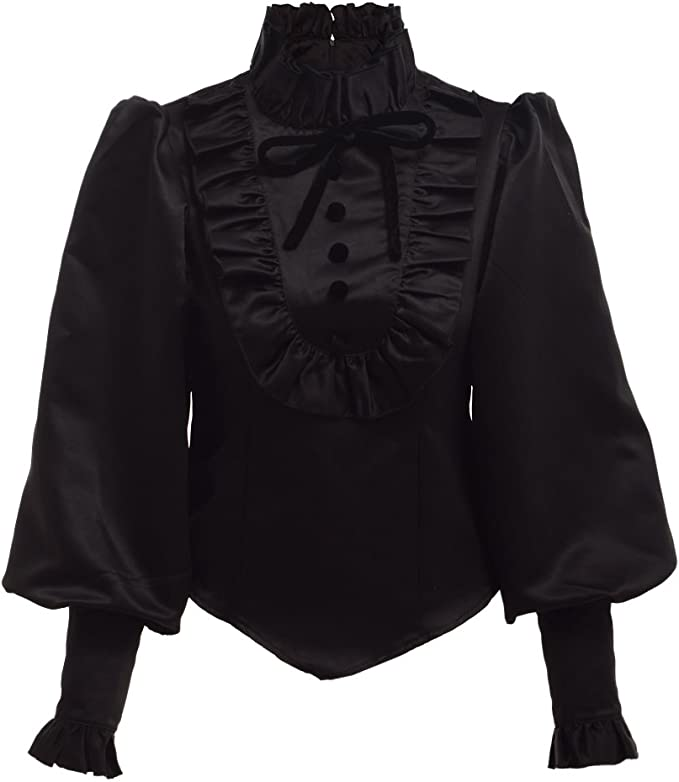Steampunk Costume Essentials for Women UK - BLESSUME Black Lolita Ruffle Blouse Black £24.99 AT vintagedancer.com