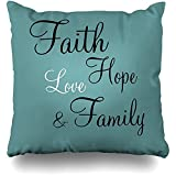 Starodet Throw Pillows Covers For Couch/Bed 18 x 18 inch, Faith Hope Love Family Home Sofa Cushion Cover Pillowcase Gift Decorative Hidden Zipper Cotton And Polyester Summer Beach Sunlight