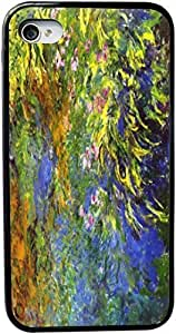 Rikki KnightTM Claude Monet Art Iris at the Sea Rose Pond 2 Design iPhone 5 & 5s Case Cover (Black Rubber with bumper protection) for Apple iPhone 5 & 5s