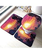 BOBO-SHOP LOL badmat 3-delige set badkamertapijtset zachte antislipkussens badmat + contourkussens + toiletdeksel