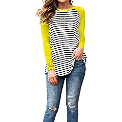 Women's White and Black Striped Long Sleeve Baseball T Shirt Sport Tunic Tops Yellow Small