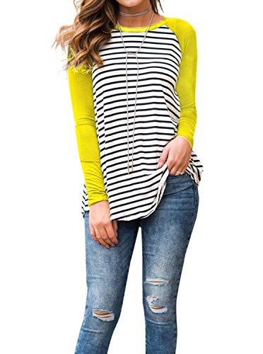 Adreamly Women's White and Black Striped Long Sleeve Baseball T Shirt Sport Tunic Tops Yellow (Tunic Shirt Jacket)