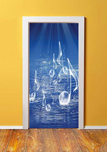 Music Decor 3D Door Sticker Wall Decals Mural Wallpaper,Magical Water with Musical Notes Bubbles and Dancing Waves Fantasy Music More Than Real Decor,DIY Art Home Decor Poster Decoration 30.3x78.15659