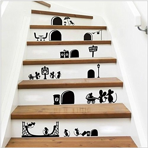 Yanqiao new diy cartoon mouse stair steps sticker removable vinyl wall sticker home decor deroration wallpaper 9 821 7black