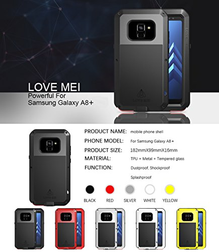 Love MEI Waterproof Aluminum Case Samsung Galaxy A8 Plus (2018 Version) Tempered Glass Screen Cover Protector Black [Two-Years Warranty] by Love Mei (Image #5)