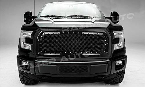Razer Auto Gloss Black Rivet Studded Frame Mesh Grille Complete Factory Replacement Grille Shell for 15-17 2015-2017 Ford - F150 Ford Pick