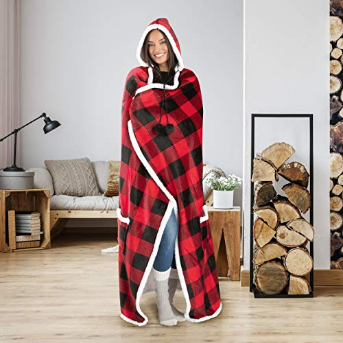 (Safdie & Co. Hooded Blanket Throw Wearable Cuddle 52
