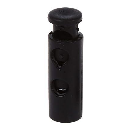 Plastic 6mm Dia Hole Cylindrical Spring Stopper Cord Locks Black 20 Pcs