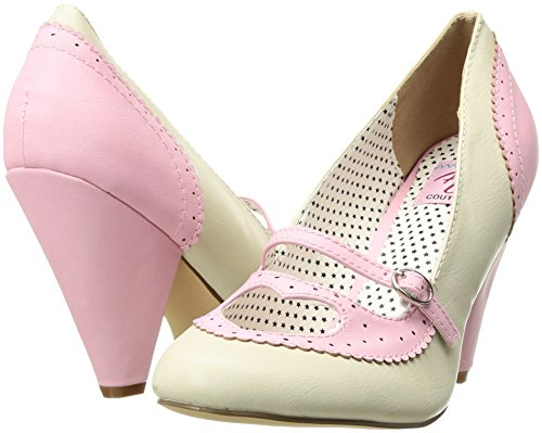 B Up Chiusa Couture Leather Donna Scarpe 18 Pin Pink Col Poppy Tacco cream Faux Punta vZ4dTwq