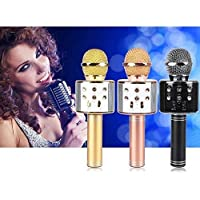 Shreeji Ethnic WS-858 Wireless Bluetooth Audio Recording Condenser Handheld Microphone with Speaker for Cellphone Karaoke for All Android, iOS Devices, Laptops and Computers