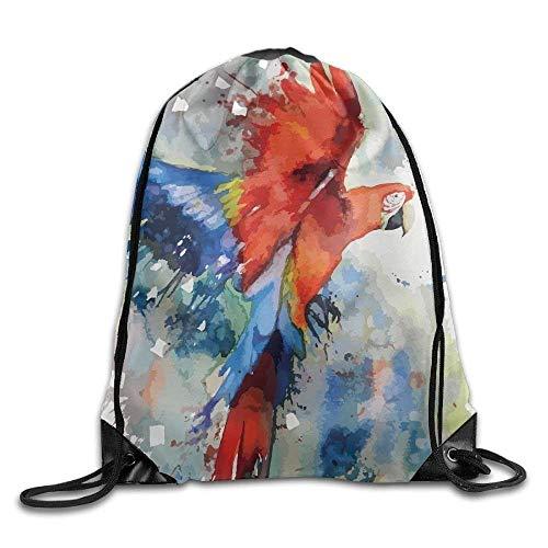 The Parrot Painting Print Drawstring Backpack Rucksack Shoulder Bags Gym...