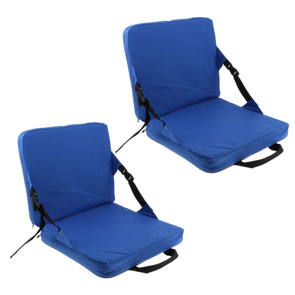Prettyia 2pcs Rocking Chair Cushions Soft High Back and Seat Padding Foldable Portable Ultralight Fishing Indoor Outdoor Use Blue by Prettyia
