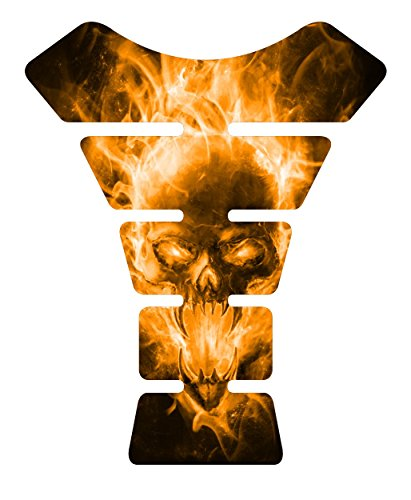 Motorcycle Exploding Skull Gold Sportbike Gel Tank Pad tankpad Protector Decal