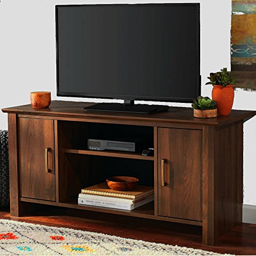 Multi Media Tv Stand with Cabinets and Shelves Adjustable Walnut Brown Wooden Small Minimalist Modern Flat Screen Panel 42 Inch Living Room TV Stand eBook by Easy&FunDeals